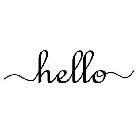 hello sign. calligraphic hand written hello. lettering for banner, poster and sticker concept with text Hello. 版權商用圖片 - 155041883
