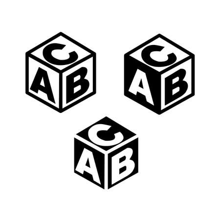 ABC building blocks on white background. alphabet cubes sign. baby block alphabet symbol. flat style. 版權商用圖片 - 154948435