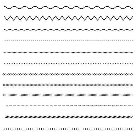 set of line on white background. dot and line patterns. line border symbol. Vettoriali
