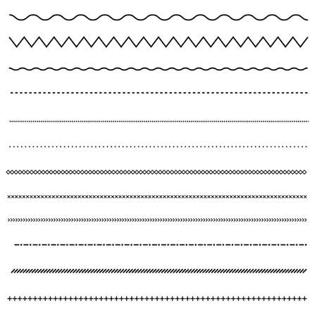 set of line on white background. dot and line patterns. line border symbol.