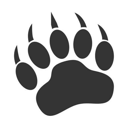 bear paw print icon on white background. bear claw print sign. animal paw symbol. flat style.
