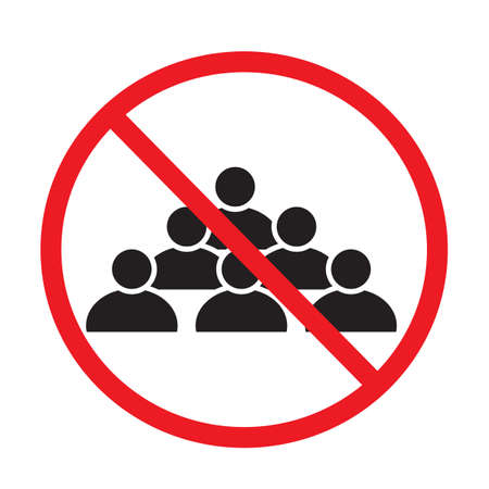 attention coronavirus precautions. social distancing avoid crowds icon on white background. no people sign. forbidden symbol.
