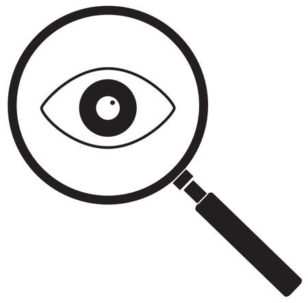 magnifier with eye icon on write background. flat style. magnifying glass and eye sign. search glass symbol.