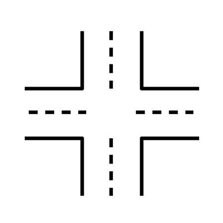 Intersection icon on white background. linked road sign. road symbol. flat style.