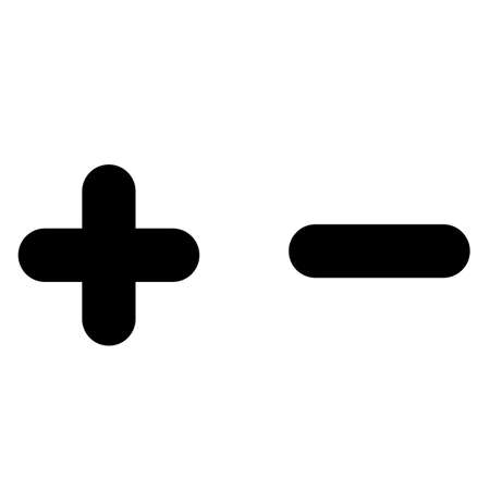 plus and minus zoom icon on white background. add and subtract buttons. positive and negative symbol. flat style. 版權商用圖片 - 155920322