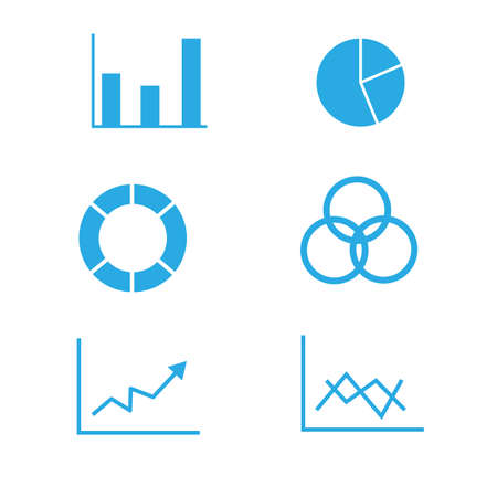 graphs and diagram icons on white background. diagrams, pie chart, statistics and analytics sign. flat style. business charts symbol.