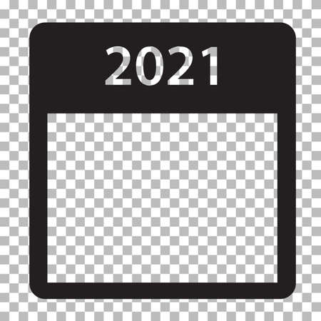 2021 year calendar icon on transparent background. happy new year 2021.
