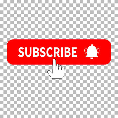 red button subscribe icon on transparent background. subscribe, bell button and hand cursor. subscribe button sign. subscribe to video channel symbol.