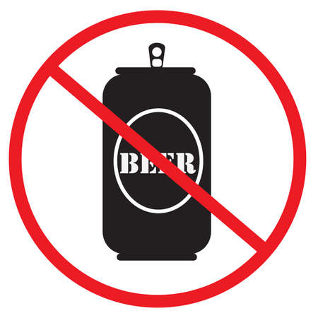no beer icon on white background. not allow beer bottle. The red circle prohibiting sing. prohibited items can symbol.