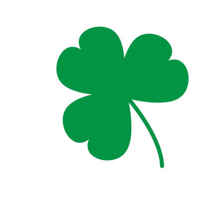 green shamrock leave icon on white background. happy patricks symbol. clover sign. flat style.