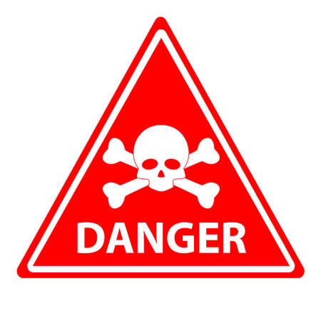red danger skull crossbones warning on white background. danger warning message . flat style. restricted zone, sign. dangerous chemicals symbol. 向量圖像