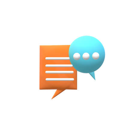 3d chat bubble icon on white background. online support concept. chat sign. speech bubble symbol.
