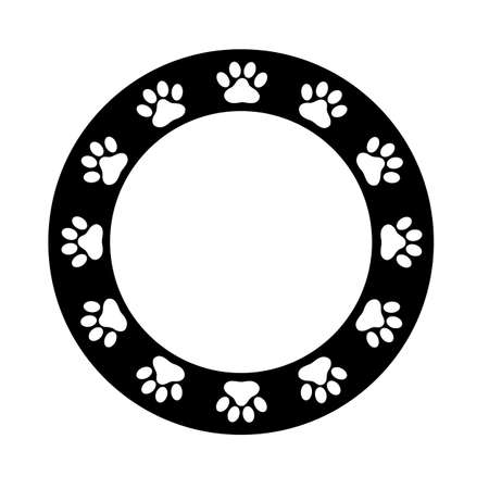 paw frame on white background. flat style. dog paw print border. black animal paw prints round frame.