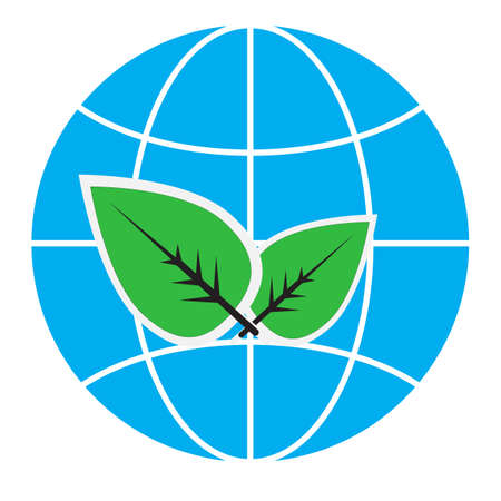 globe with green leaves icon on white background. eco sign. symbol of ecological, sustainable.