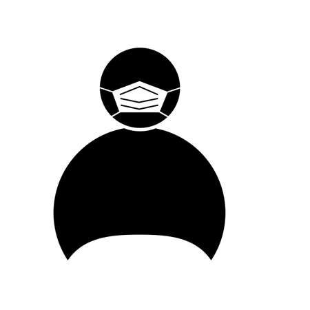 person in protective surgical mask icon on white background. Icon of person in medical mask sign. flat style.