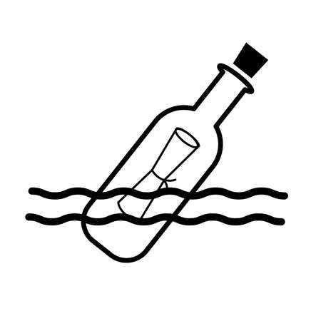 message in the bottle icon on white background. pirates symbol. bottle with note sign. flat style.