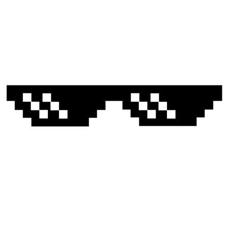 sunglasses pixel icon black on white background. pixel glasses sign. thug life meme glasses. flat style.