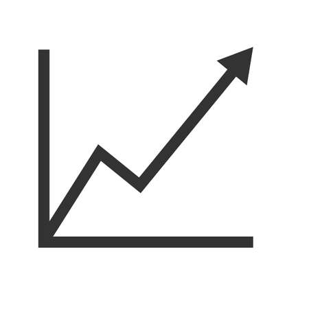 graph icon on white background. chart sign. growing graph symbol. flat style.