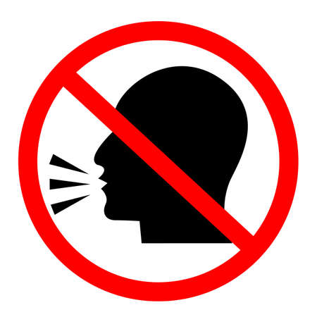 do not talk icon on white background. No talking sign. do not speak symbol. Keep quiet. flat style. 向量圖像