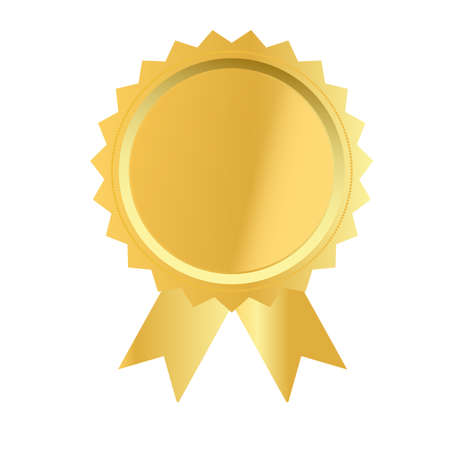 gold medal on white background. gold award sign. golden seal with ribbons symbol. flat style. 版權商用圖片 - 157744459