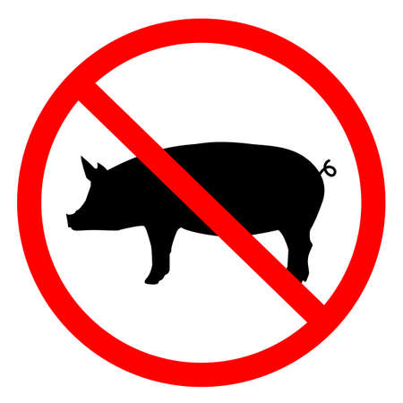 meat forbidden on white background. forbiden pigs sign. no pork logo. pigs forbidden symbol. 版權商用圖片 - 158316651