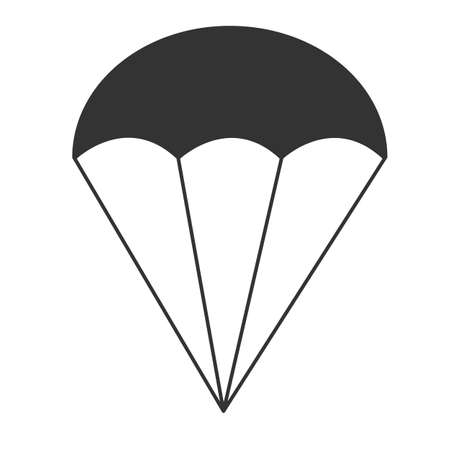 parachute icon on white background. black parachute sign. flat style.