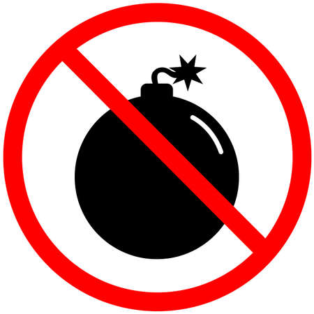 no bomb icon on white background. no bombs prohibition sign. explosive material symbol. 向量圖像
