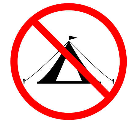 no camping icon on white background. no camping sign. prohibition symbol. no tourist tent logo.