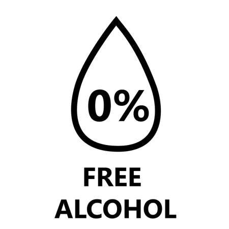 alcohol free icon on white background. alcohol free sign. Skin and body care cosmetic product medical alcohol free drop and percent symbol. flat style. 版權商用圖片 - 158583241