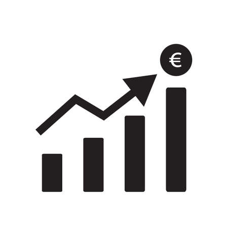 increase euro currency chart on white background. flat style. increase money growth sign. euro rate increase graphic symbol. 版權商用圖片 - 158464952