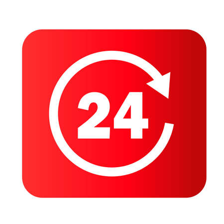 24 hours icon on white background. All day cyclic symbol. clock hours sign. flat style.