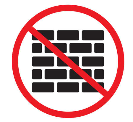 no allowed construction icon on white background. forbidden sign with bricks sign. flat style.