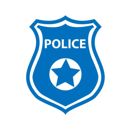 Police badge icon on white 向量圖像