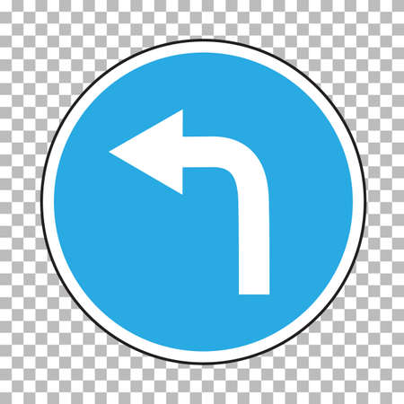 traffic sign direction of travel sign. german traffic sign. moving to the right symbol. go left on checked transparent background. flat style.