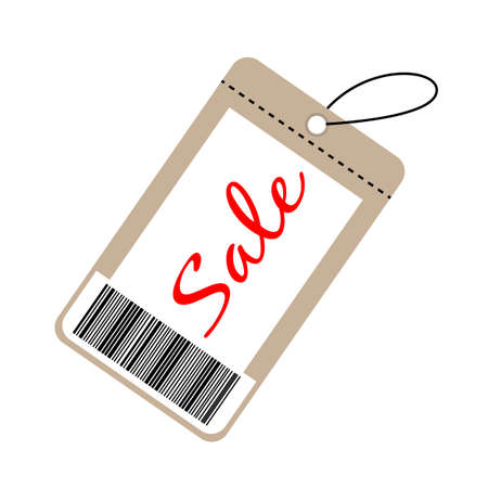 price tag icon on white background. flat style. sale card sign. price tag and barcode design.