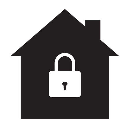 house security protection icon on white background. lock house sign. home security symbol. house with security padlock sign. flat style.