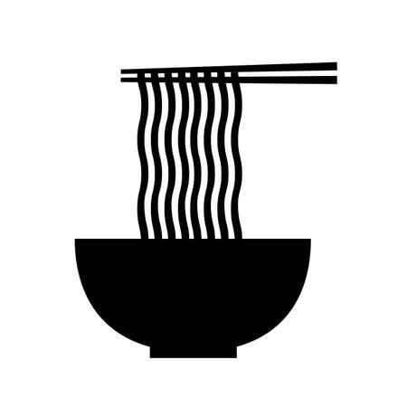 hot noodle . flat style. noodles and chopsticks symbol. bowl of noodles with chopsticks on white background. ramen noodles soup sign.
