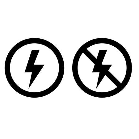 lightning and no lightning on white background. lightning sign. no flash symbol. electric sign. flat style.