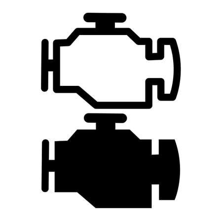 engine icon on white background. car check engine. warning sign. flat style. car service concept. Çizim