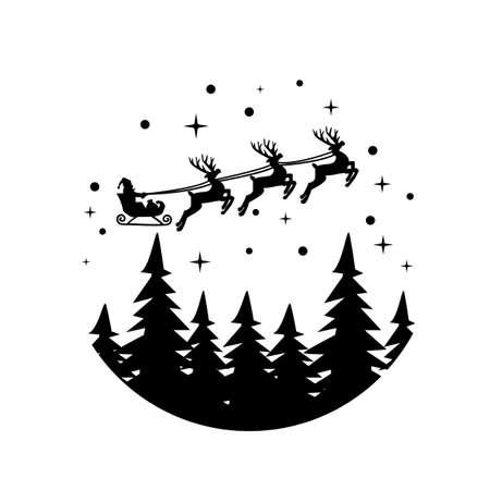 santa on sleigh on white background. merry christmas sign. christmas deer symbol. flat style.