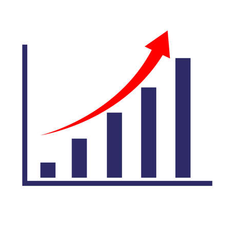 chart with growth arrow icon on white background. flat style. chart progress sign. orange arrow on business graph symbol. growing graph sign.