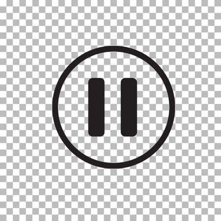 pause button icon on transparent background. pause button sign. flat style. 向量圖像