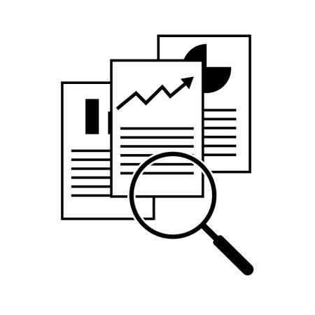 document inspection icon on white background. flat style. audit illustration sign. discovery logo. contract symbol. paper document file with magnifying glass.