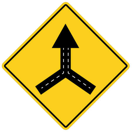 warning sign two way road merge on white background. traffic sign. traffic sign lanes merging symbol. flat style.