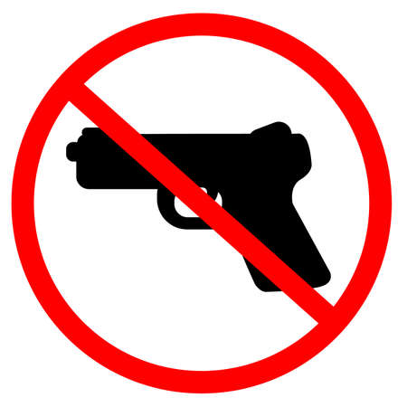gun prohibition sign warning on white background. restricted area pistol not allowed. red prohibition no gun round sign. no gun symbol. flat style.