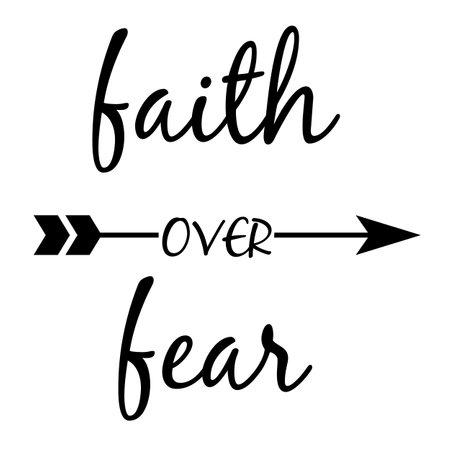faith quote lettering typography. faith over fear, christian faith quote. flat style. Çizim