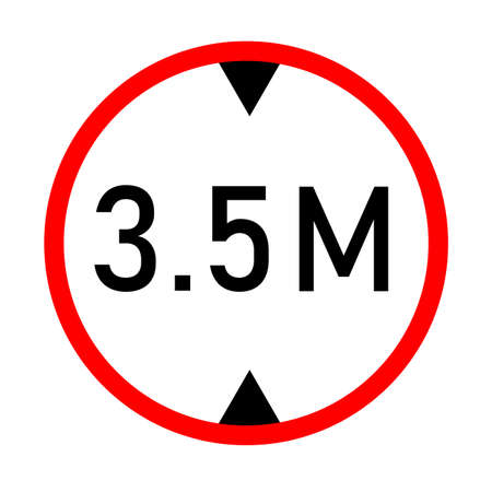 height limit traffic sign on white background. red circle sign found near that pass under bridges. 3.5 meter height restriction road sign. flat style.