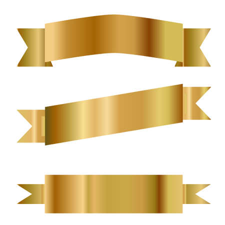 golden ribbon vector. set of  golden ribbons on white background. flat style.