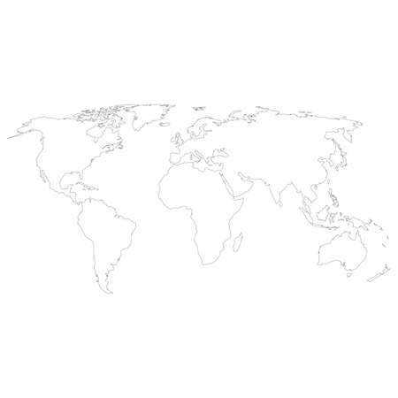 outline hand drawn map of the world on white background. hand drawn simple stylized world map. freehand world map sketch sign. flat style. Çizim