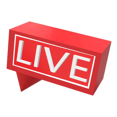 3D live streaming icon on white background. red symbols and buttons of live streaming. online stream sign. broadcasting symbol. Stok Fotoğraf
